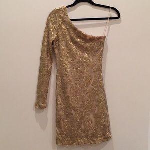 Guess Gold Sequin Old Shoulder Dress